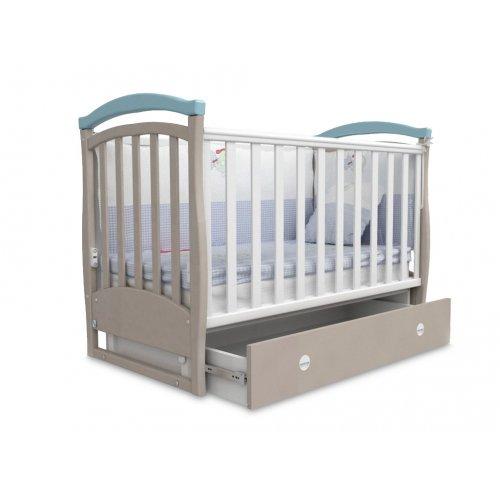 Детская кроватка Соня ЛД-6 капучино-голубой маятник