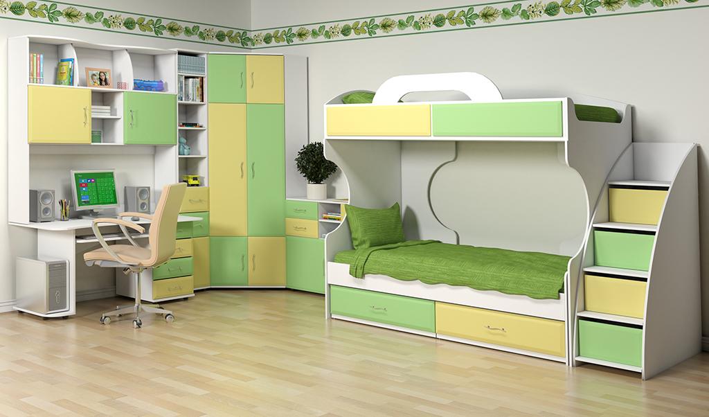 Комплект детской мебели Колорит с двухэтажной кроватью