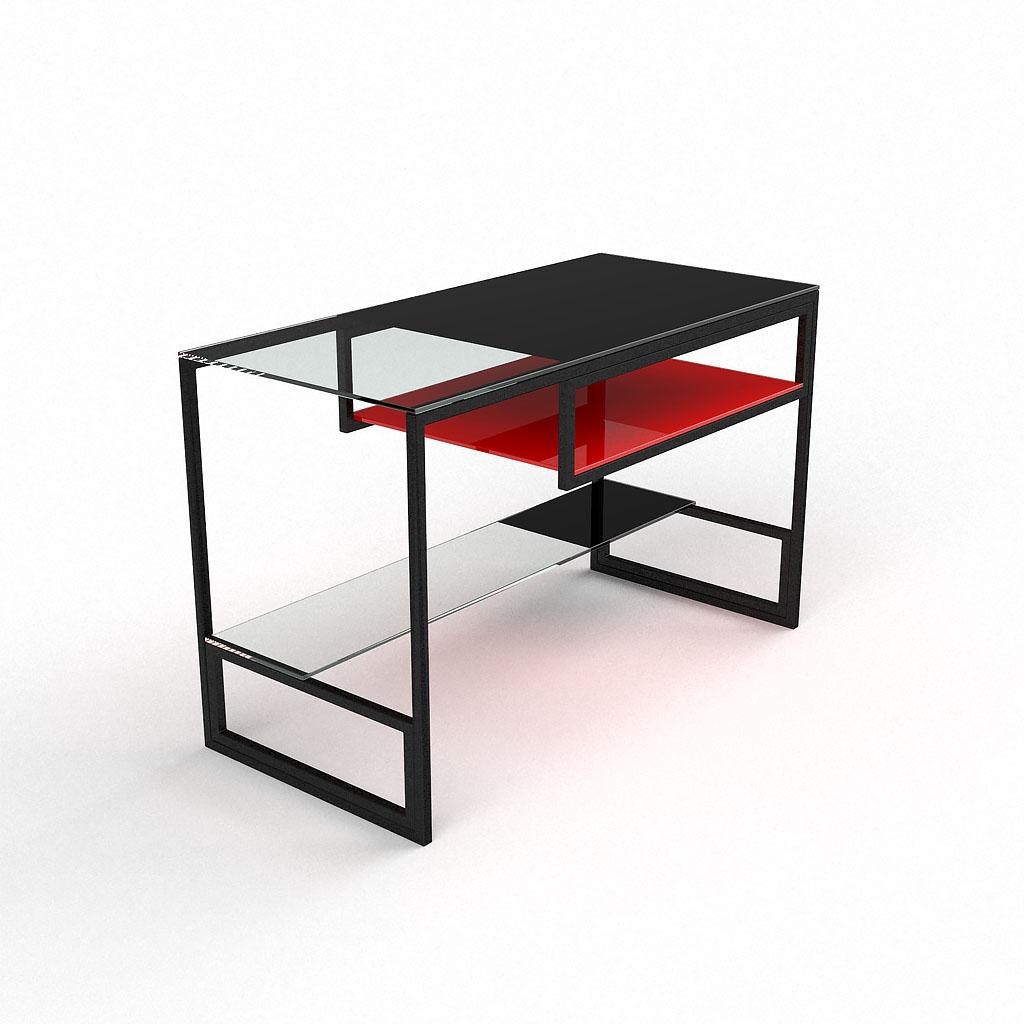 Стеклянный компьютерный стол Мустанг ТМ ВЦ стол