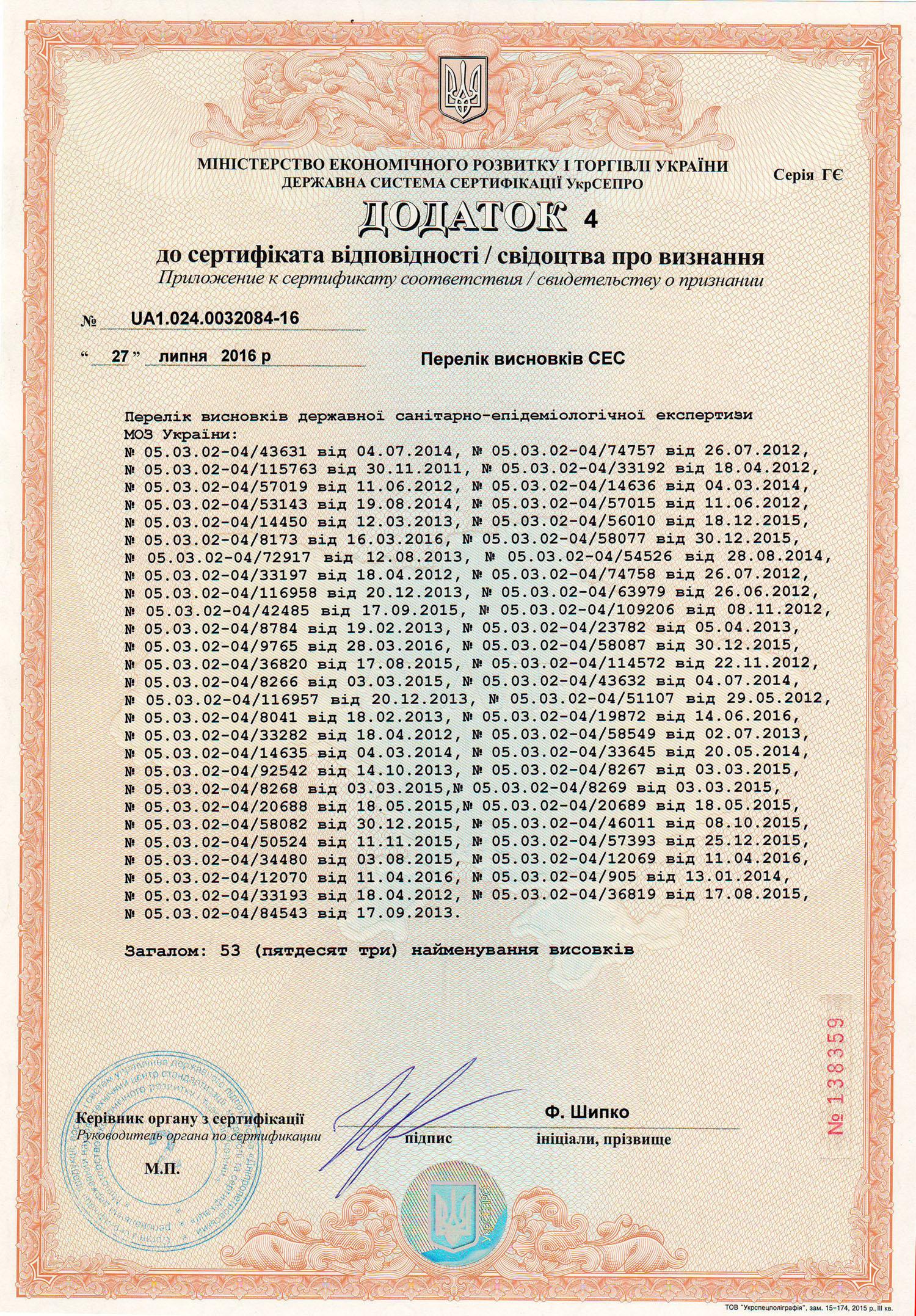 Сертификат соответствия качества ТМ ЕММ