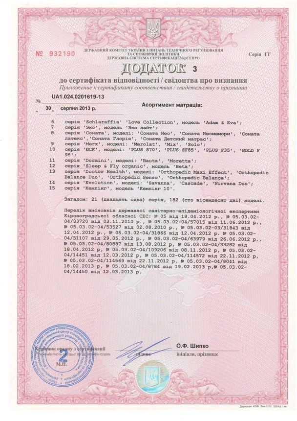 Сертифікат якості на матраци Тейк Го