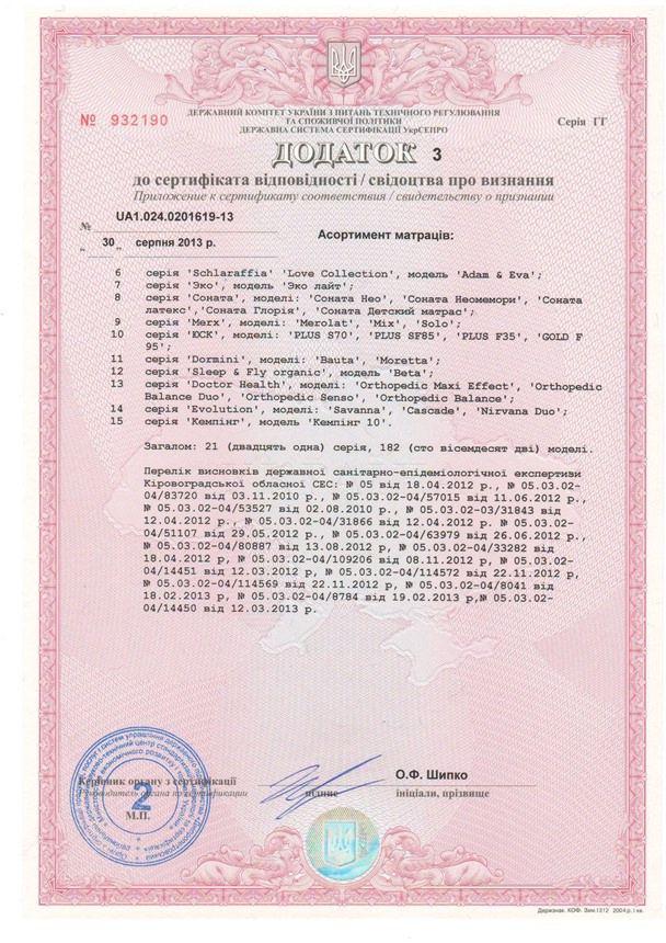 Сертификат качества на матрасы Herbalis KIDS