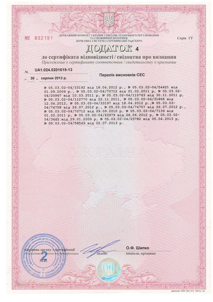 Сертифікат відповідності якості Тейк Го ТМ ЕММ