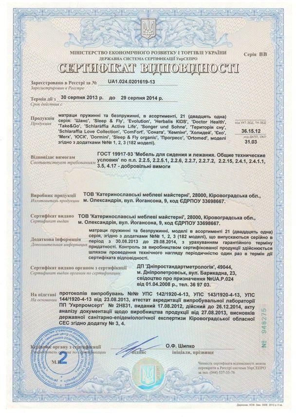 Сертификат соответствия качества Ортоленд