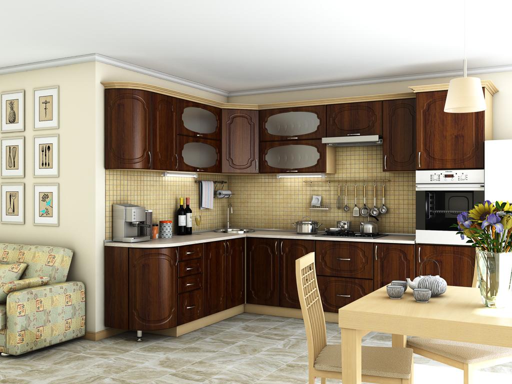 Кухонный гарнитур Сансет орех темный