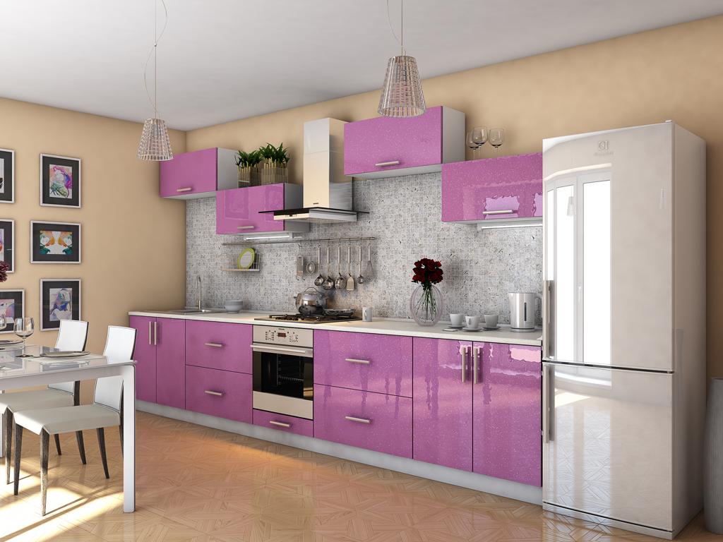 Кухонный гарнитур Гламур лиловый металлик