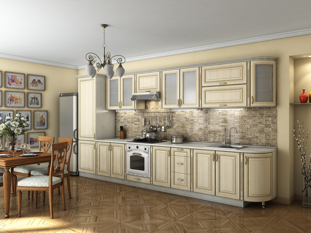 Кухня в классическом стиле с радиусным фасадом