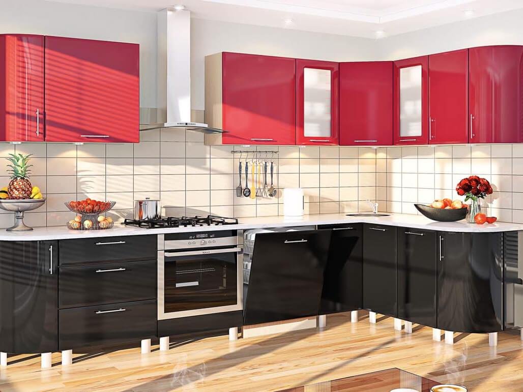 Кухня красно-черного цвета Хай-Тек ТМ Комфорт Мебель