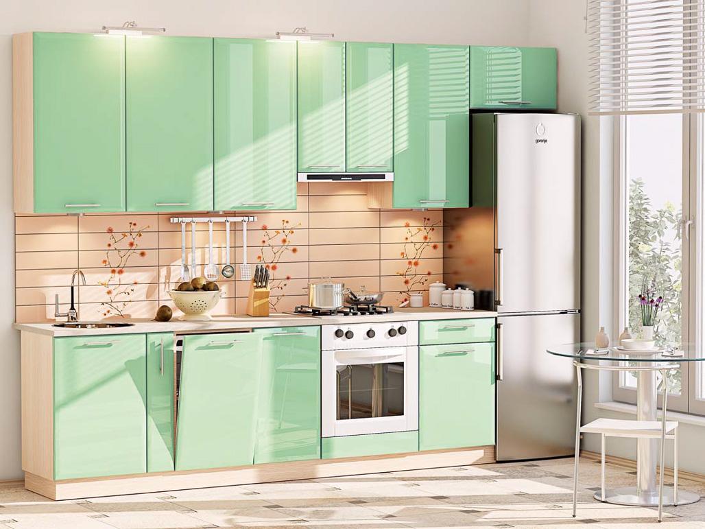 Маленький кухонный гарнитур мятного цвета