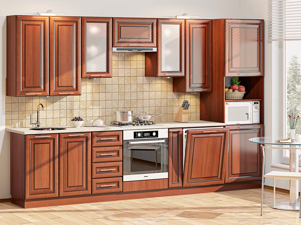 Кухонный гарнитур Премиум коричневого цвета