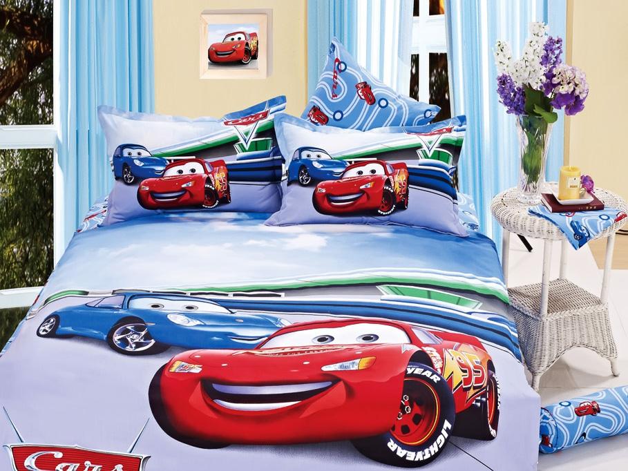 Спальне білизна з машинками. Полуторний комплект дитячої постільної ... c29bd109aa755