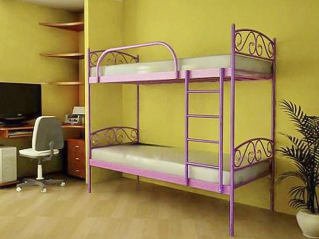 Двухъярусная металлическая кровать для подростков