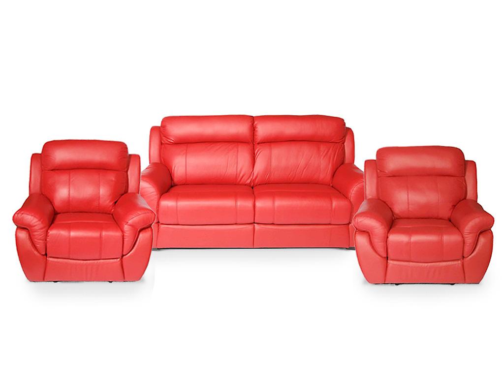 Кожанный диван и кресла