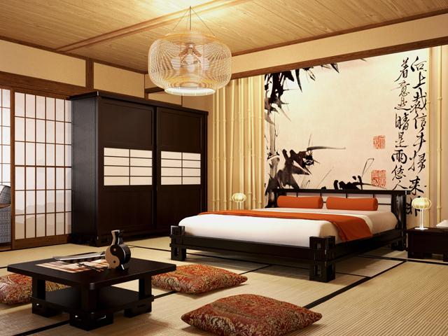 Кровать в спальне японского стиля