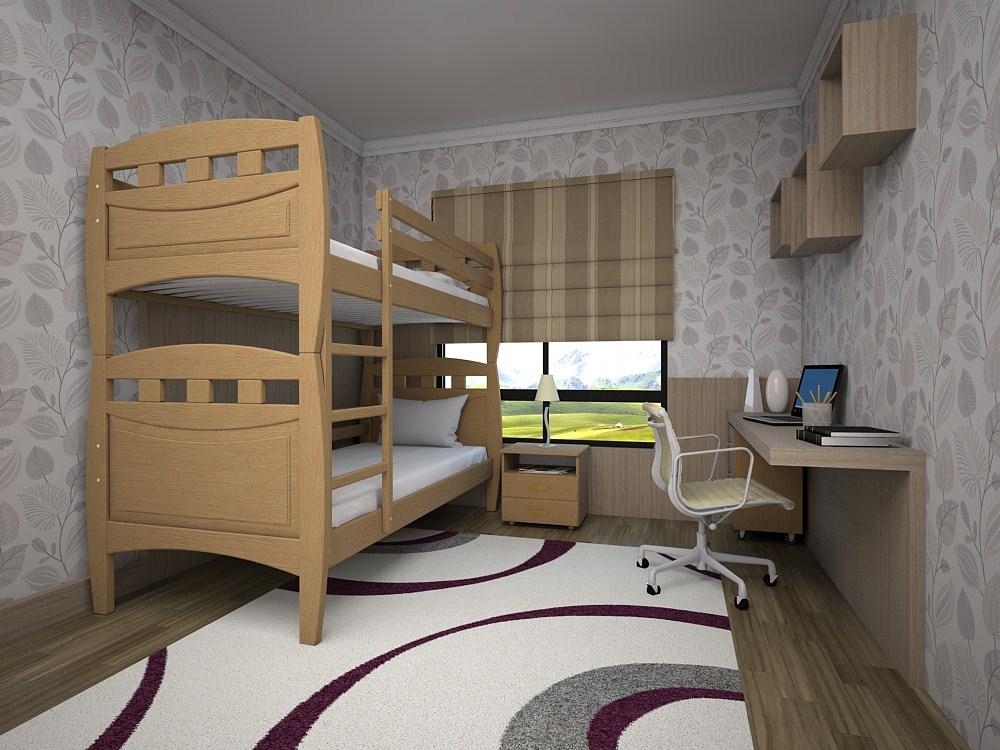 Двухъярусная кровать в интерьере спальни