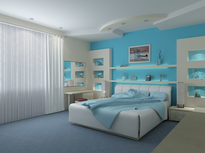 Спальня в холодном голубом цвете