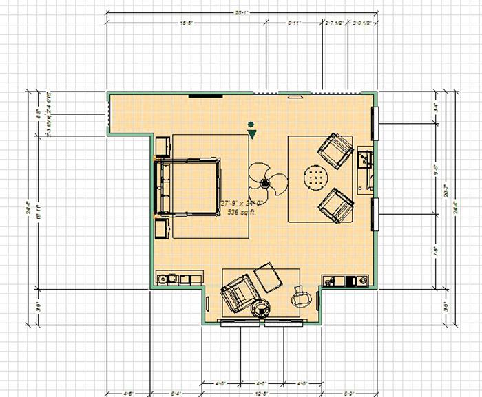 Проект комнаты и обстановки в ней удобно планировать на бумаге в клетку