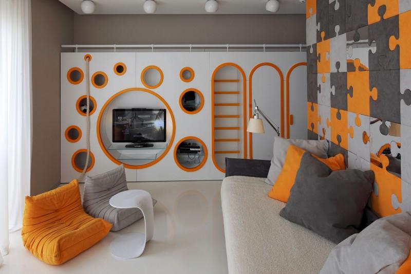 Интерьер детской комнаты отлично дополняют 2 бескаркасных кресла