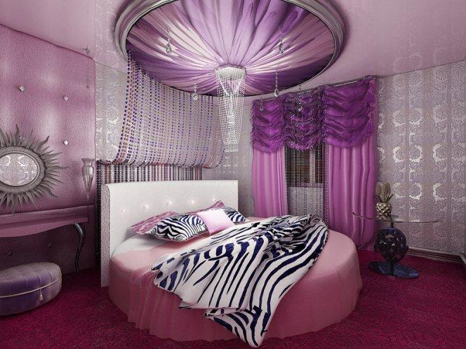 Оформление стильной сиреневой спальни
