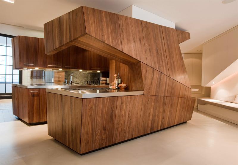 Шпонированные фасады кухни в стиле модерн