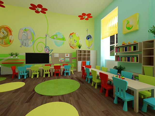Яркий интерьер игровой комнаты в детском саду