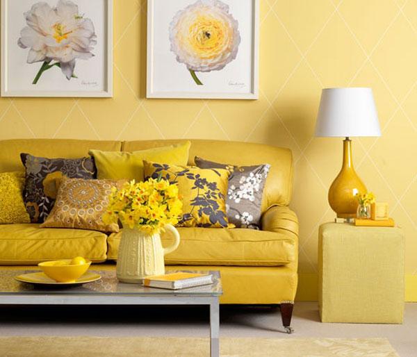 Солнечное настроение в гостиной лютикового цвета