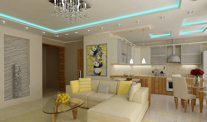Совмещение пространства кухни и гостиной