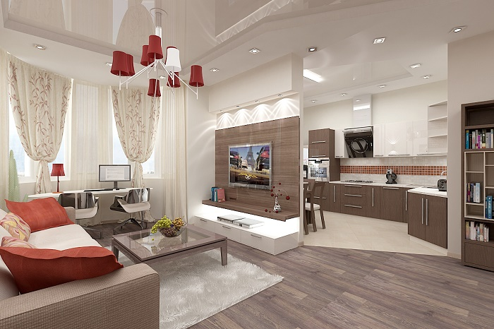 Разделение пространства кухни-гостиной на функциональные зоны