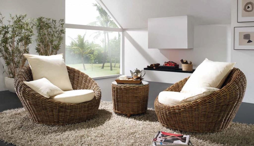 Ротанговая мебель в эко интерьере