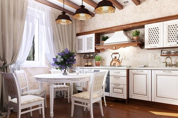 Біла дерев'яна кухня