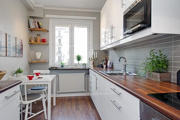 Линейный вариант расстановки кухонного гарнитура