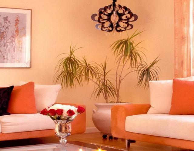 Гостиная с преобладанием персикового оттенка