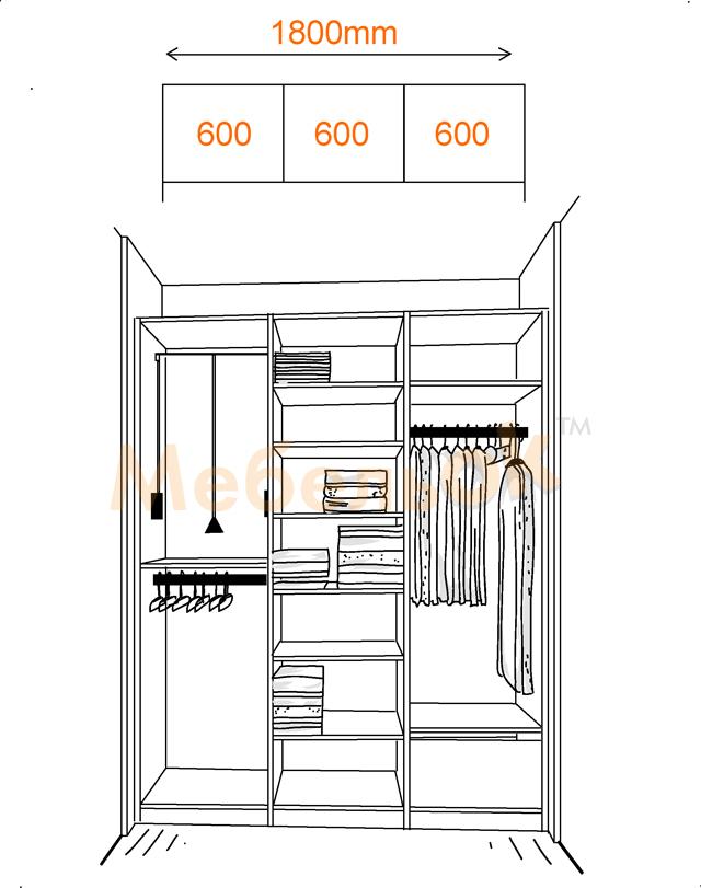Пример внутреннего устройства трехдверной модели