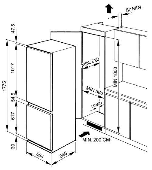 Установка холодильника в шкаф с дверцами