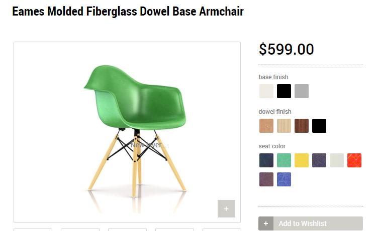 Оригинальное кресло Eames на сайте производителя