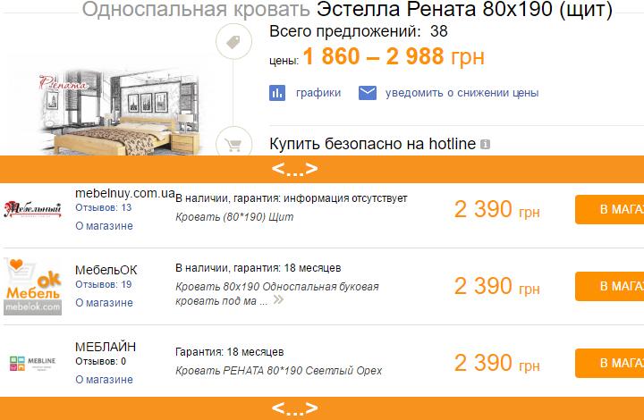 Цена на кровать Рената на странице Хотлайн
