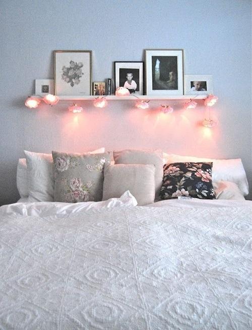 Гирлянда с огоньками над кроватью