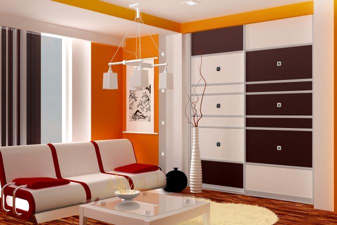 Гостиная со встроенным шкафом-купе