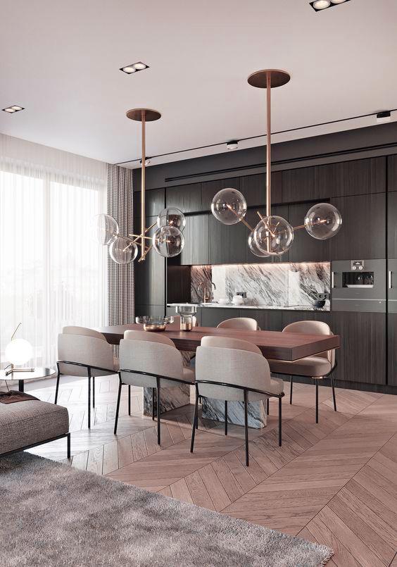 Черная кухня в квартире-студии