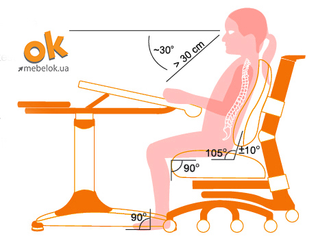 Эргономика кресла для подростка - схема
