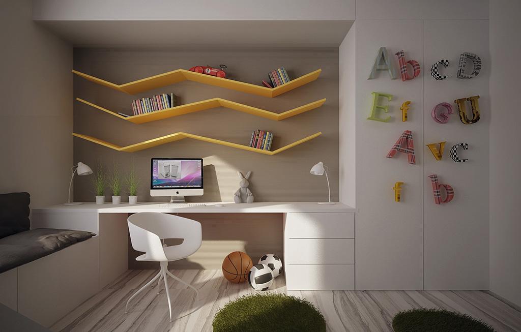 Детская комната в стиле хай-тек: сочетание белых фасадов мебельной системы и кривых книжных полок