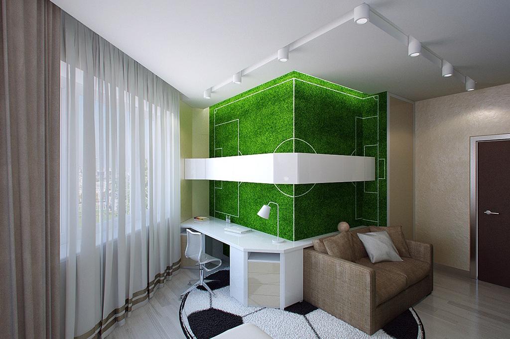 Футбольное поле в качестве декора на стене в комнате подростка ломает пространство