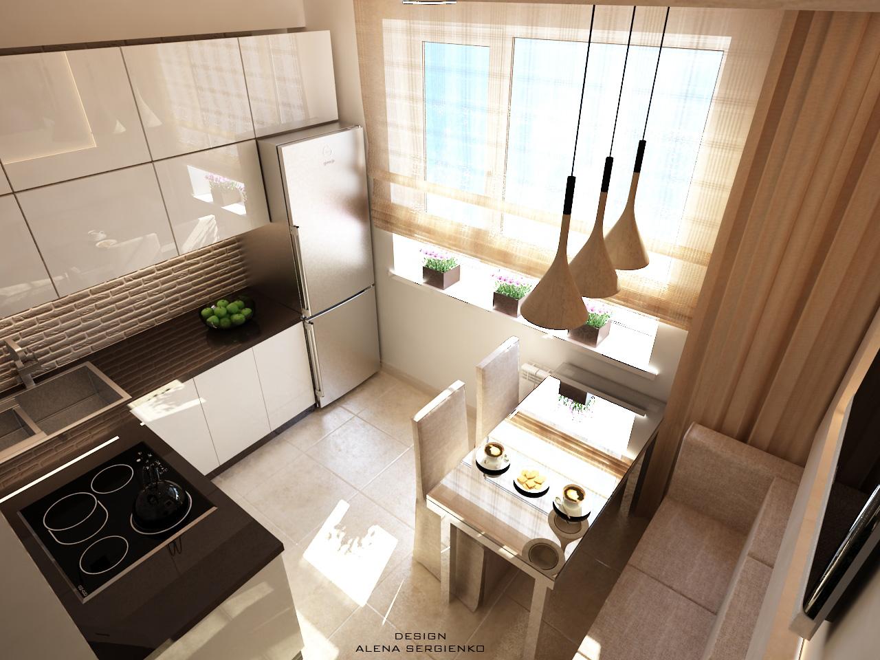 Пример дизайнерской кухни, вид сверху