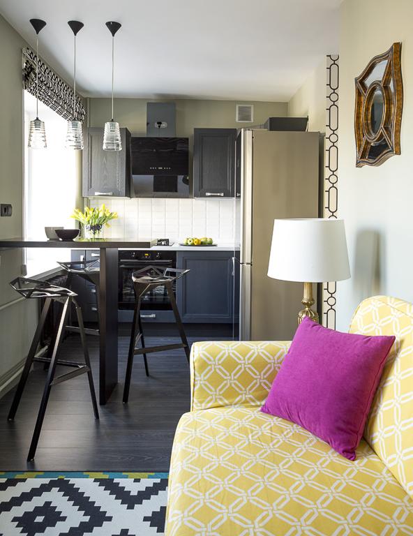Зонирование пространства маленькой кухни