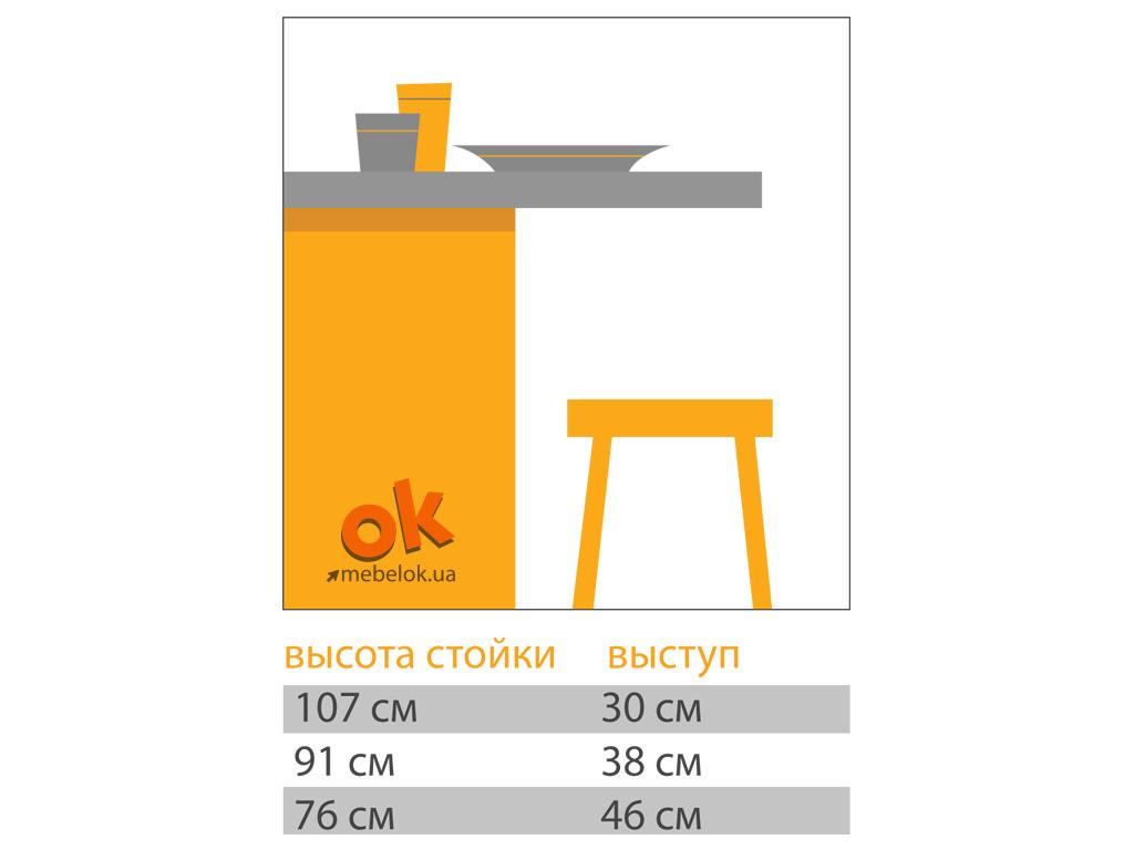 Соотношение высоты стола и глубины выступа столешницы барной стойки