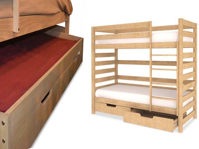 двухярусная кровать с дополнительным местом для сна