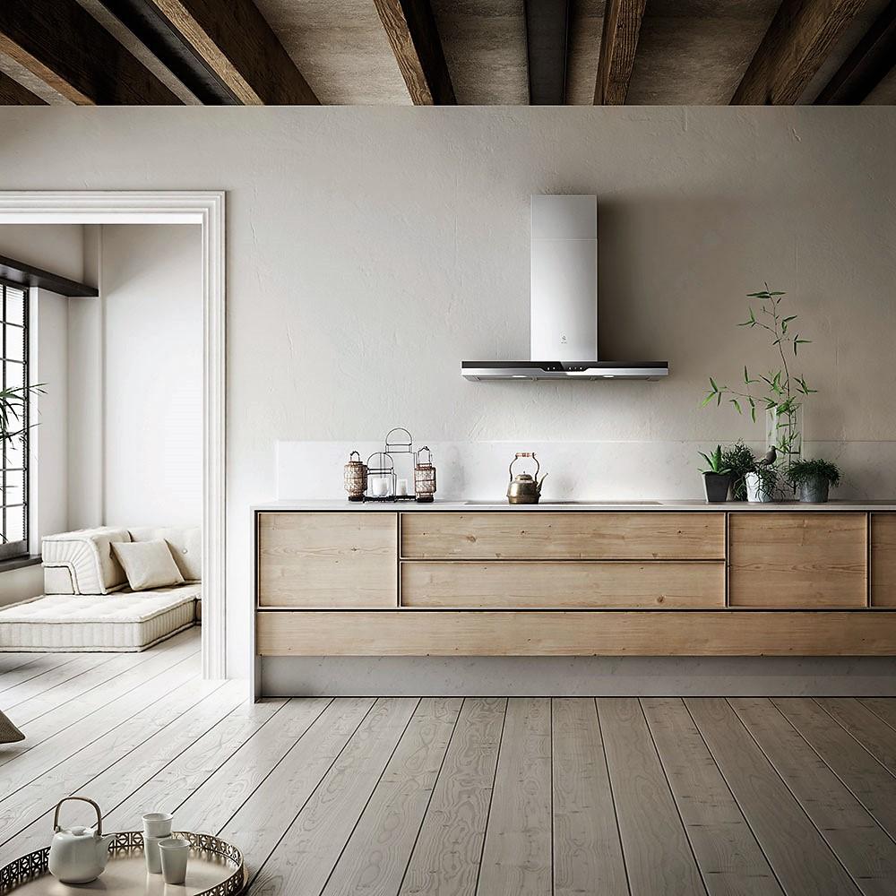 Кухонная вытяжка в интерьере в скандинавском стиле
