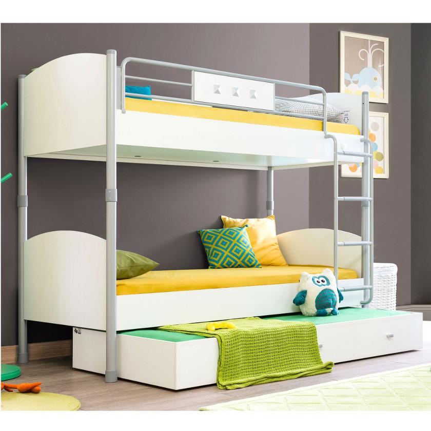 Двухуровневая кровать с дополнительной выдвижной кроватью внизу