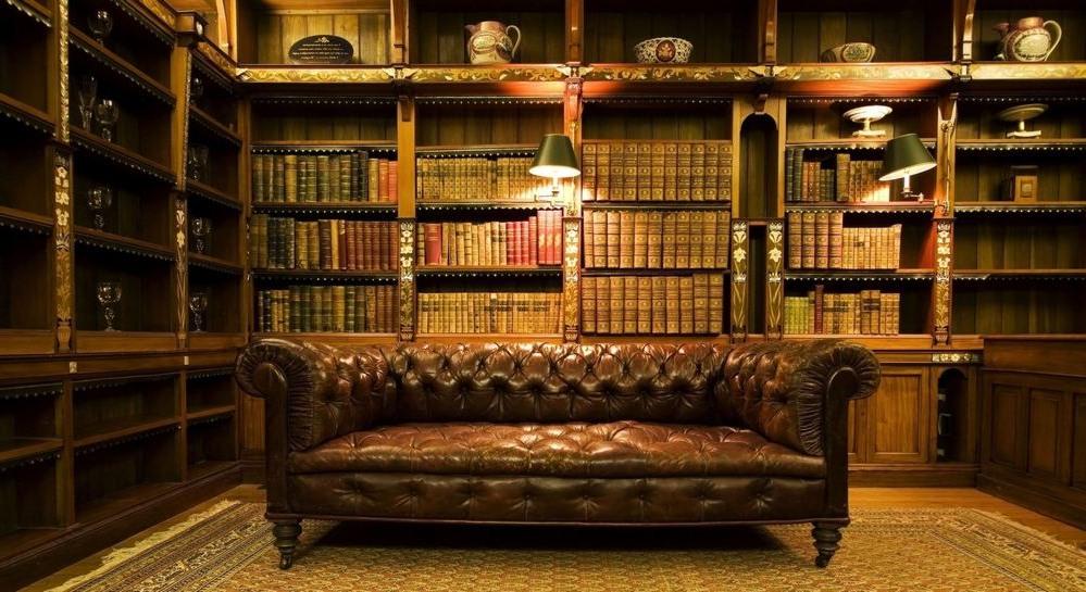 Кожаный диван в библиотеке