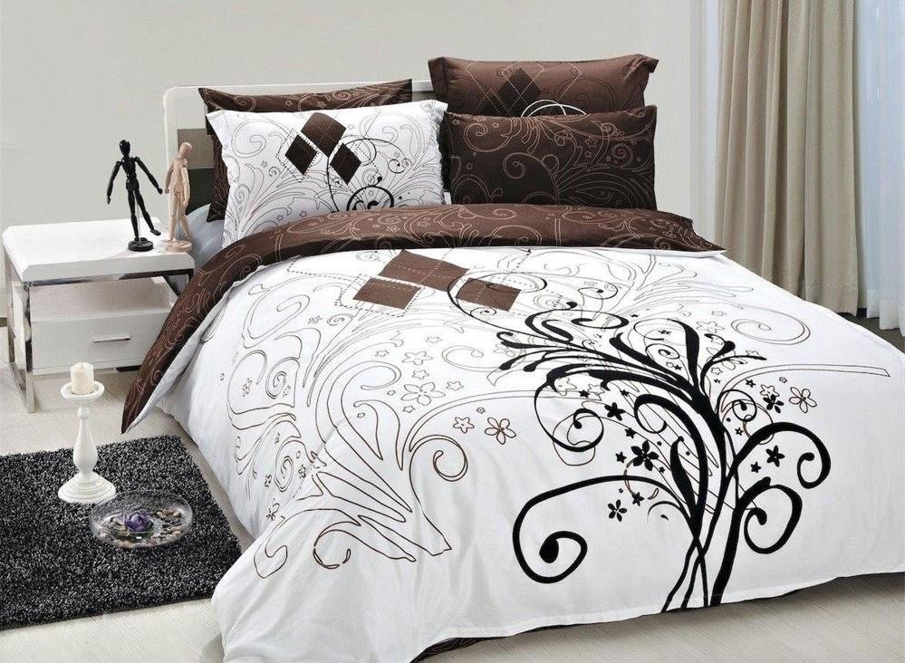 Комплект постельного белья шоколадно-белого цвета производителя Романтика